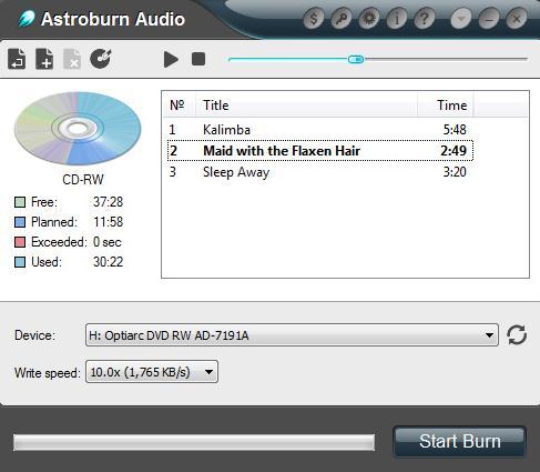 grabar musica en cdAstroburn Audio