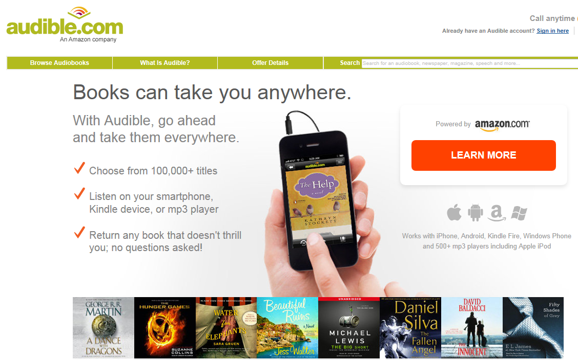 leer audio libros iTunes en Android usando Audible