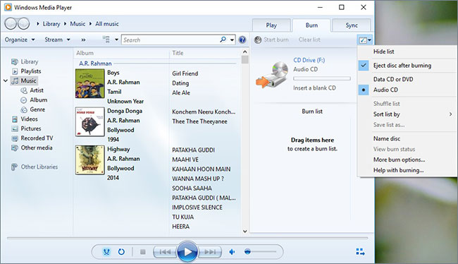 how to burn a cd with windows media player