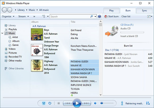 how to burn a cd using windows media player