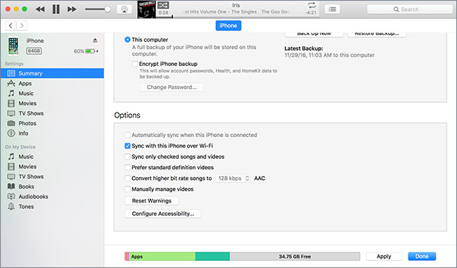 connect iphone to itunes wirelessly