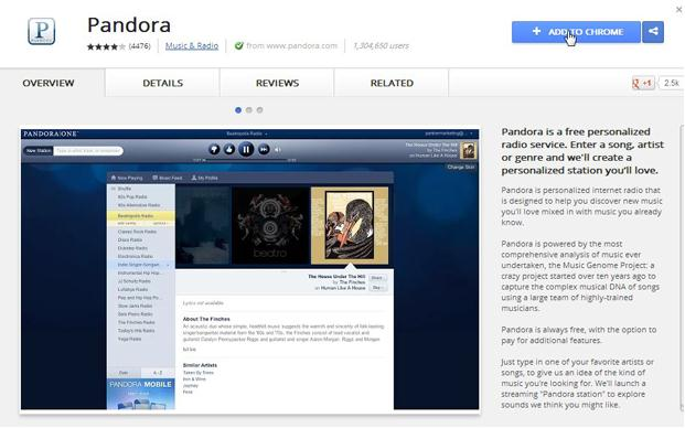 download pandora music on chrome