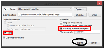 export audio to m4a