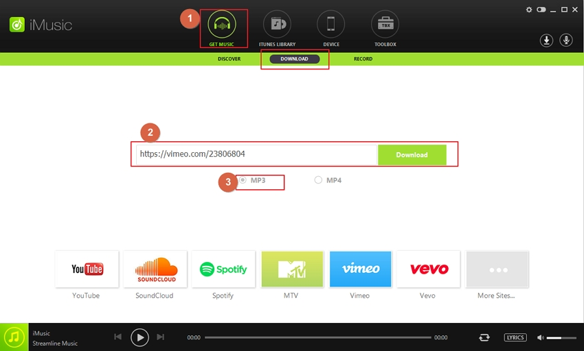 paste the URL to iMusic