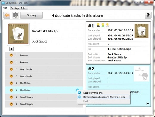Remove duplicate from iTunes library-CopyTrans TuneTastic