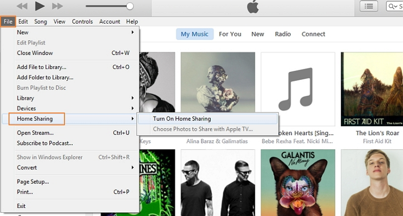 Share your iTunes Music Library-home sharing