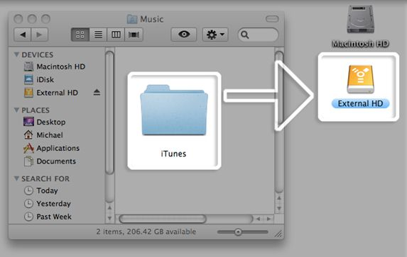 transfer itunes library from computer to external drive