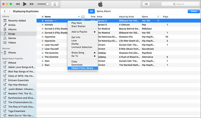 how to remove duplicate songs in itunes