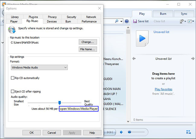 windows media player copiar cd