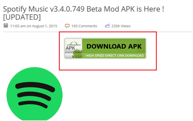 Guides for spotify APK download-On Hax