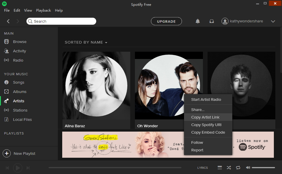 download music from Spotify-copy the artist link