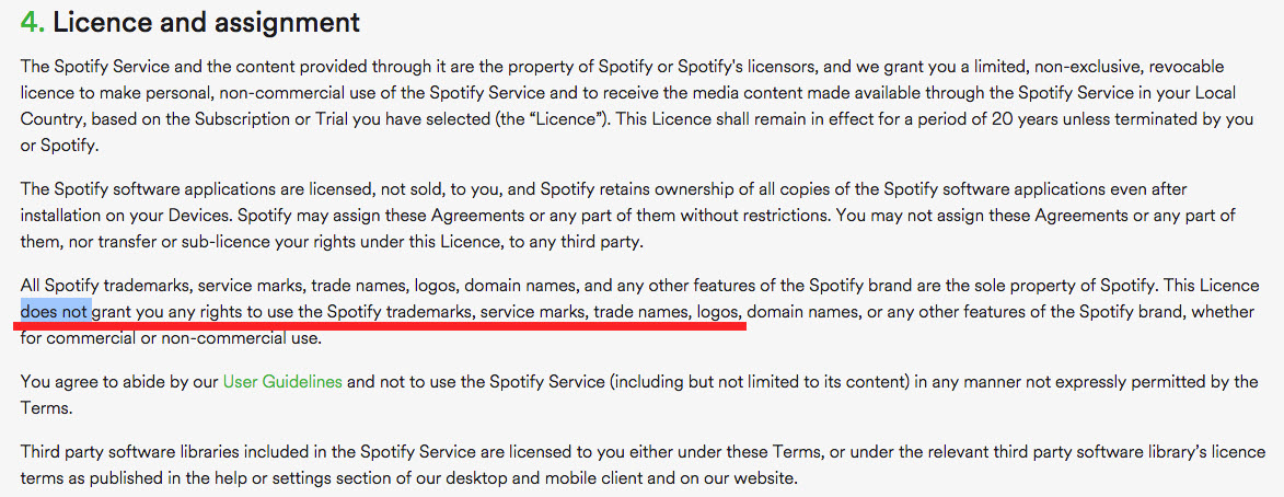 how many do you know about spotify logo-lincence and agreement