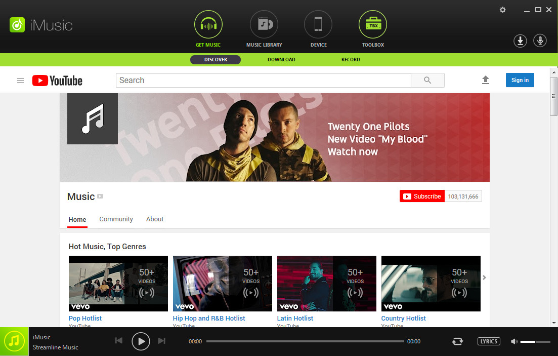 Use iMusic-Best Spotify Alternative to Record Music from Spotify