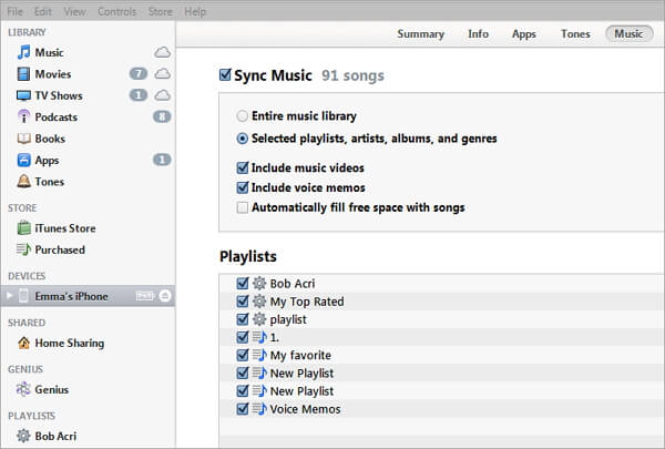 how to transfer itunes playlist to iphone
