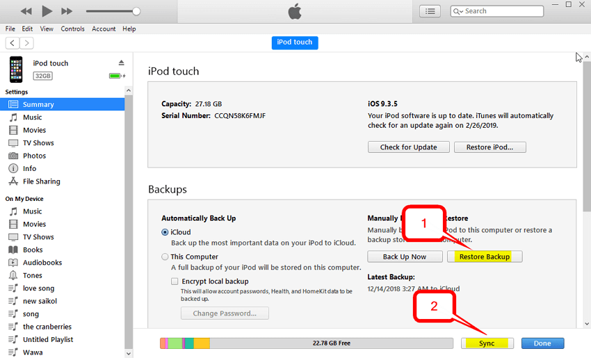 Steps to Sync iPod to iTunes with iMusic-Restore Backup