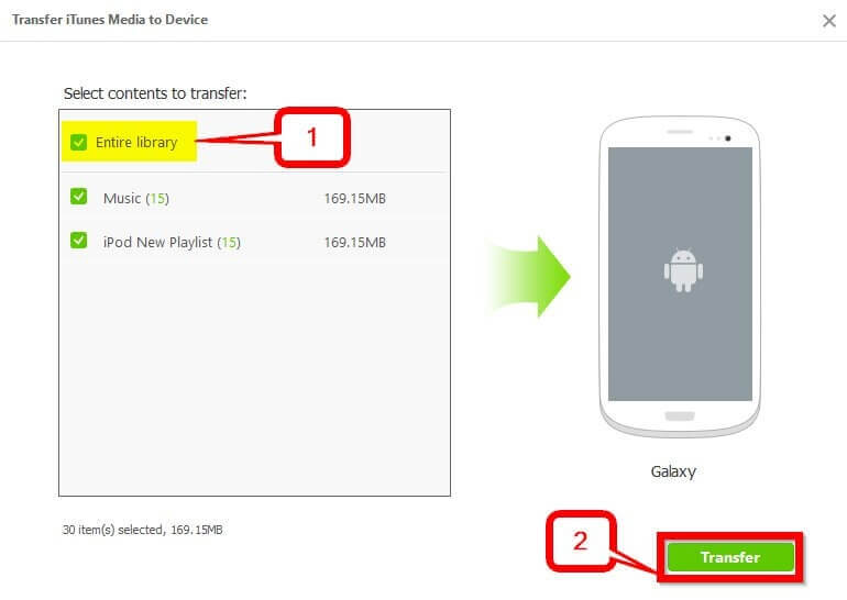 Transfer iTunes Playlist to Android    -Select the music then begin the transfer