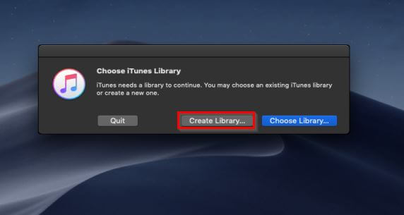 Create a New iTunes Library-launch itunes