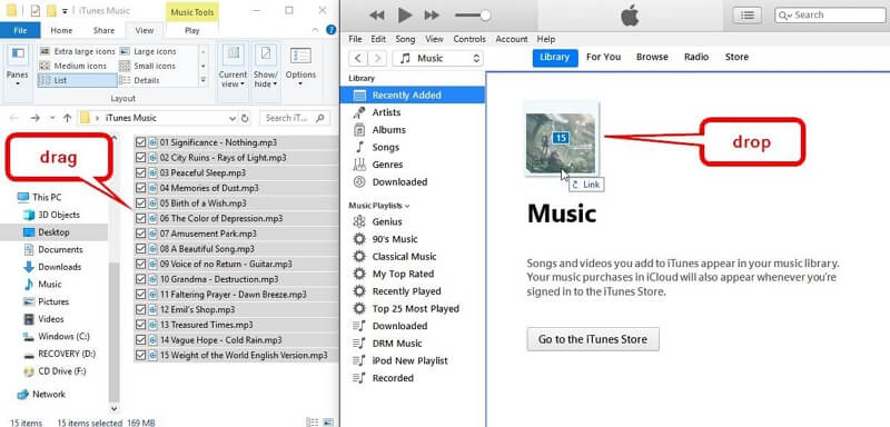 How to Add Music to iTunes from PC    -Go to the device