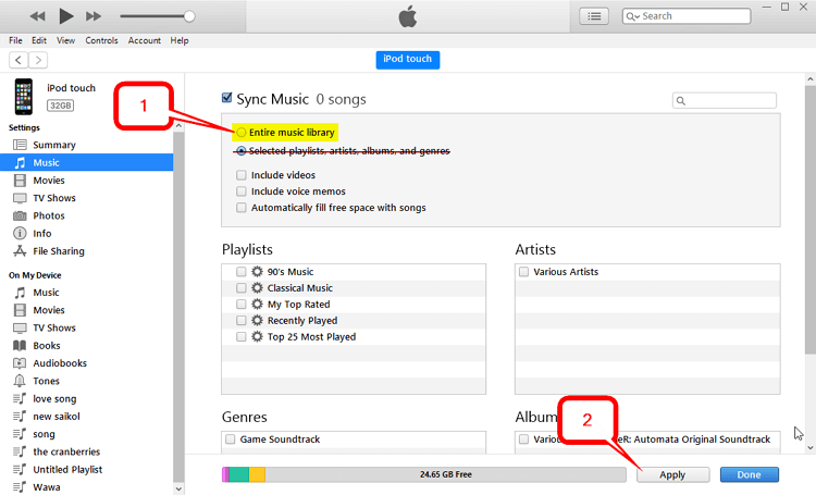 How to Transfer Music from iTunes to iPod Touch/mini/Shuffle/nano/classic  -Entire Music Library