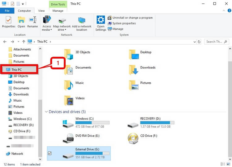 Move iTunes Library to External Drive-connect external drive to your pc