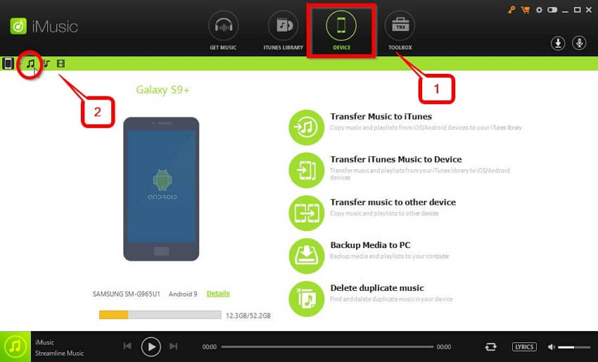 Move Music to SD Card  - move to the DEVICE tab