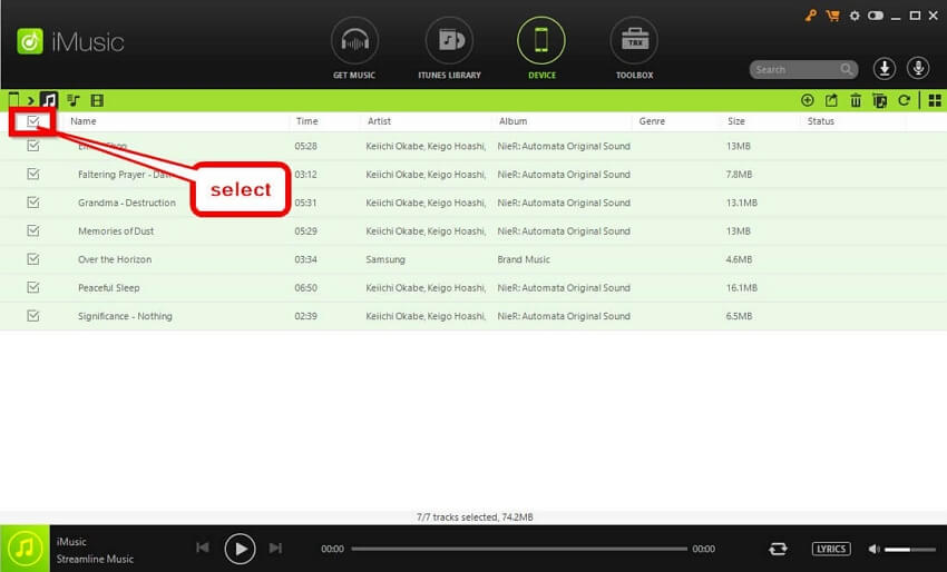 Move Music to SD Card  - Select All the music