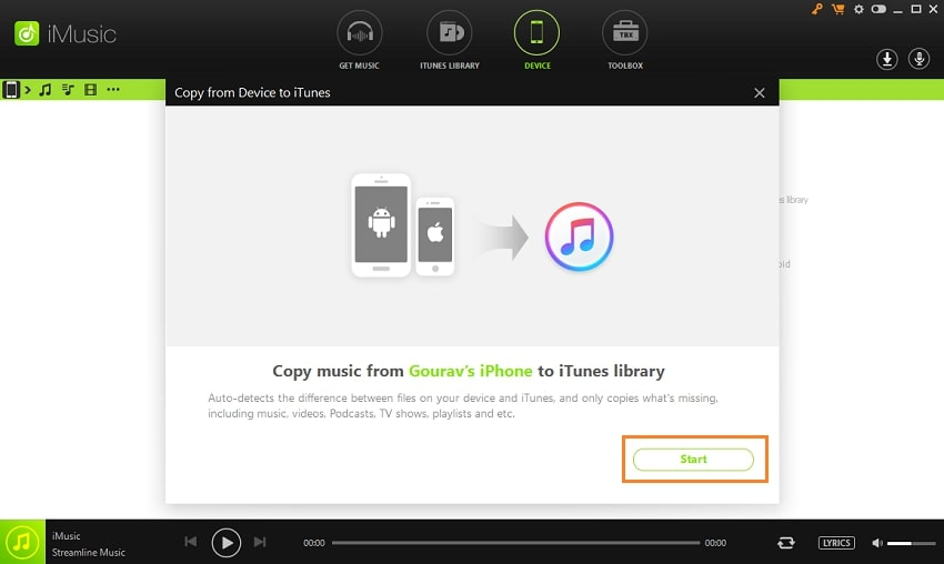 Different Fast Solutions to Transfer Music from iPhone /iPad/iPod Touch to iTunes-Begin the transfer process