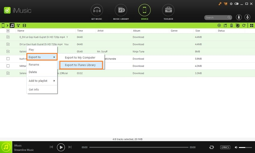Different Fast Solutions to Transfer Music from iPhone /iPad/iPod Touch to iTunes-Choose the songs