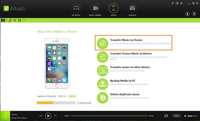 Simple Free Methods to Transfer Music from iPhone to iTunes-Select Device Option