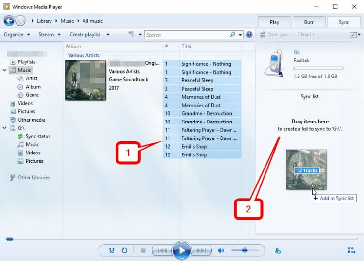 Move Music to SD Card  -Sync