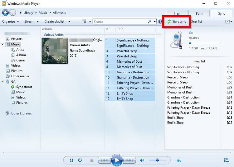 Move Music to SD Card  -Start Sync