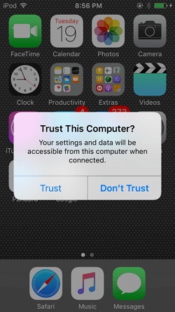 Steps to Sync iPod to iTunes with iMusic-choose Trust