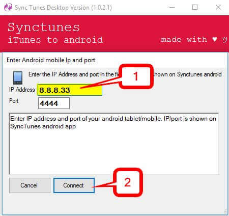 Sync Music from iTunes to Android  -type the provided IP address