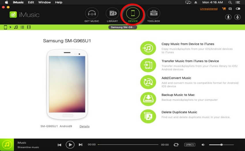 Transfer iTunes Playlist to Android    -Go to the Device page