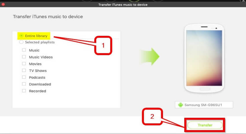 Transfer iTunes Playlist to Android    -Transfer the entire library