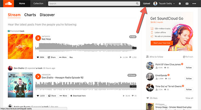 upload music to soundcloud