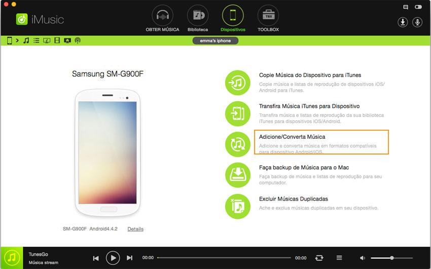 transferir música de android para o android