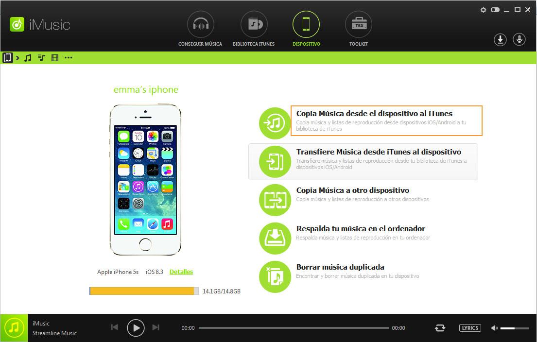 transferir música desde iPhone a itunes