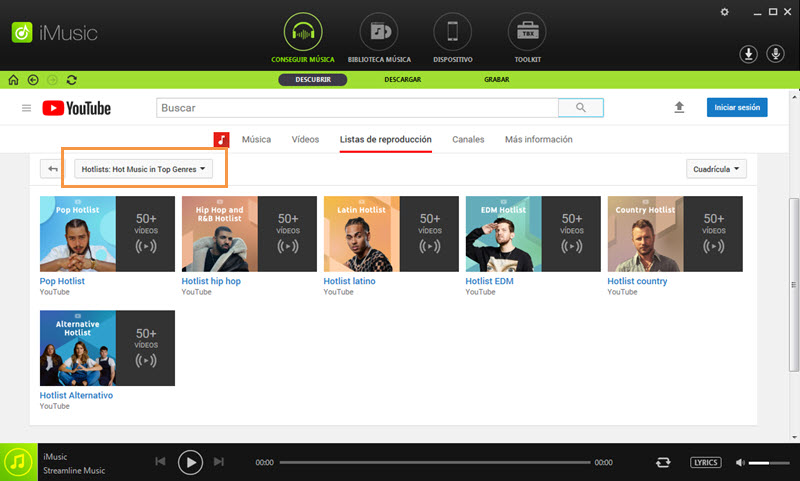 discover music in iMusic by top lists