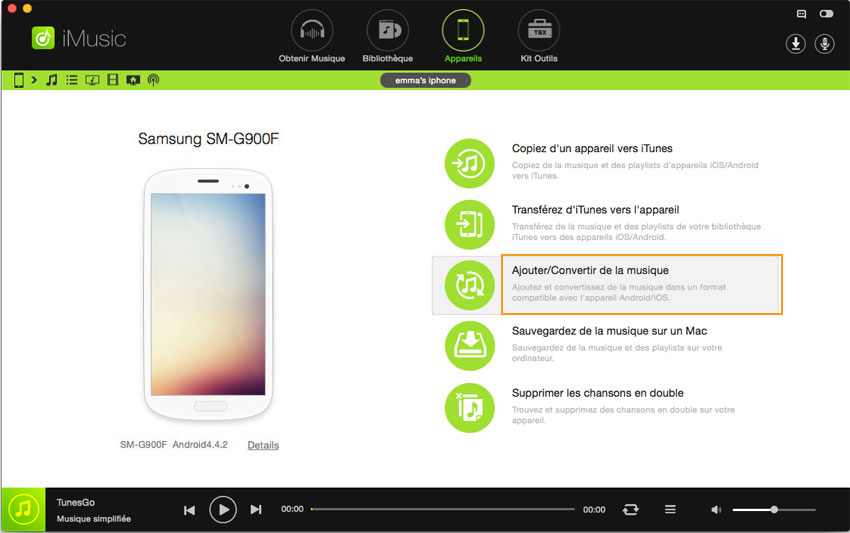 transférer musique depuis Android vers Android