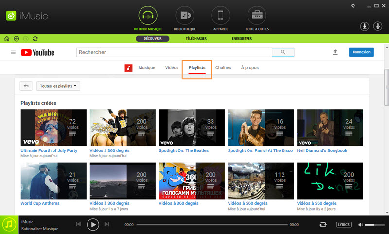 discover music in iMusic by playlists