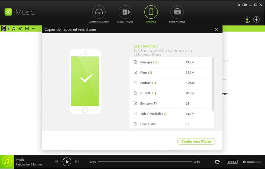 transférer de la musique de iPhone vers iTunes