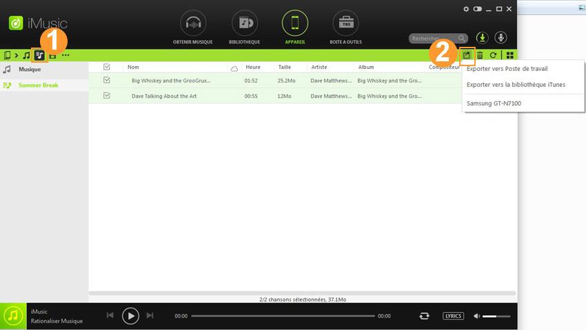 ajouter de la musique d'un ipod
