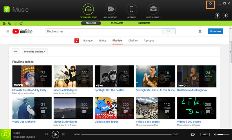 Settings toolbar of iMusic
