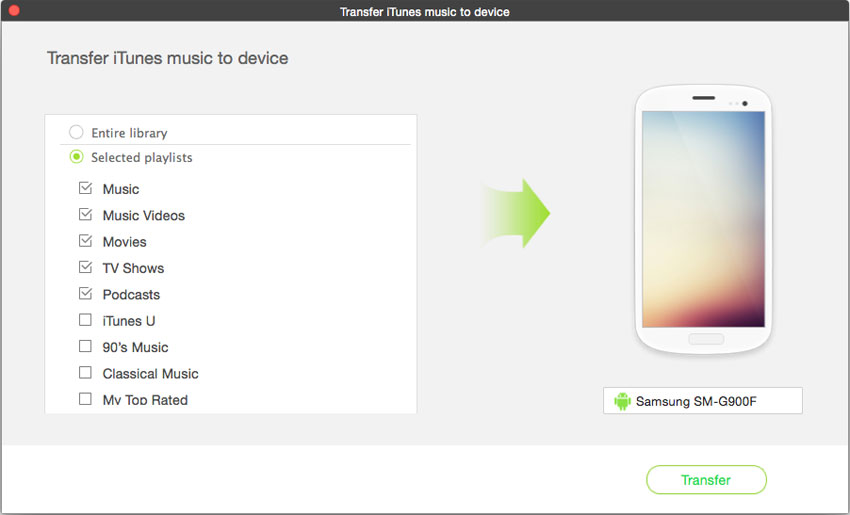 transfer music from android to mp3 player