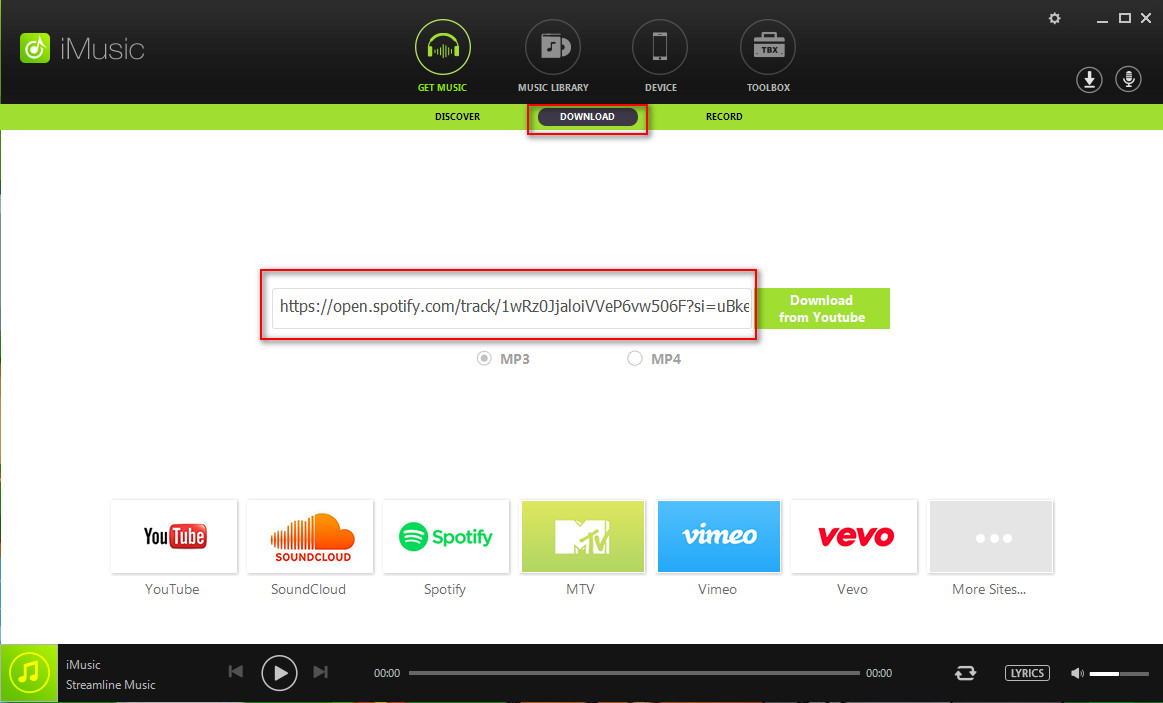 download music from Spotify-paste the link to download window